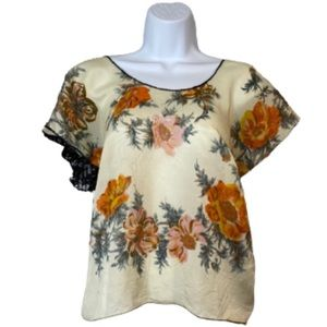Protean silk and lace upcycled floral blouse